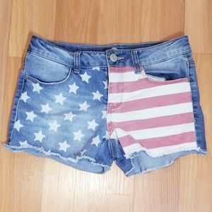 SO Girls Patriotic Denim Shorts